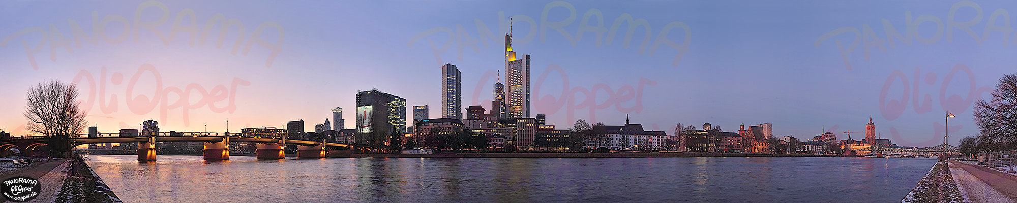 Frankfurt am Main - Winterliches Mainufer nach Sonnenuntergang - p111 - (c) by Oliver Opper