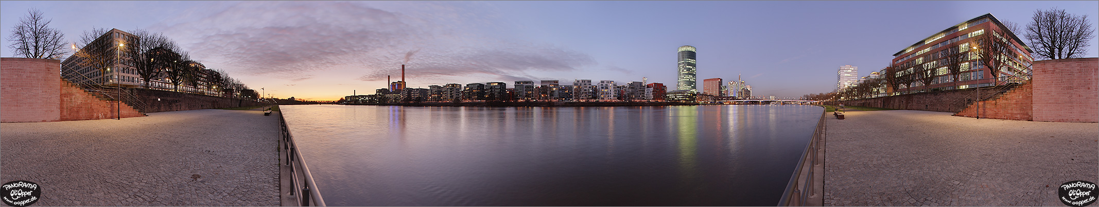 Panorama Bilder Frankfurt am Main - Sachsenh�user Mainufer - Westhafen / Westhafentower - p246 - (c) by Oliver Opper